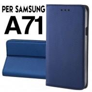 Custodia per Samsung A71 a libro Blu portafoglio chiusura magnetica cover tpu