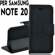 Custodia Per Samsung Note 20 Nero cover a libro-portafoglio stand case interno in tpu