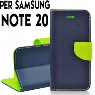 Custodia Per Samsung Note 20 Blu-Lime cover a libro-portafoglio stand case interno in tpu