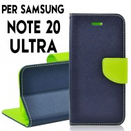 Custodia Per Samsung Note 20 Ultra Blu-Lime cover a libro-portafoglio stand case interno in tpu