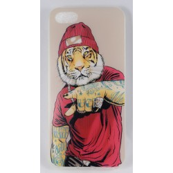 Cover Back case in gomma di silicone per Iphone 5 con fantasia Tigre Tatuata