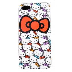 Cover Back case in gomma di silicone per Iphone 5 con fantasia Gattini ,kitty , fiocco rosso