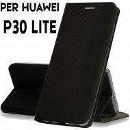 Custodia per Huawei P30 Lite Nero cover tpu portafoglio Sensitive libro chiusa magnetica