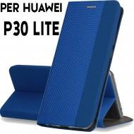 Custodia per Huawei P30 Lite Blu cover tpu portafoglio Sensitive libro chiusa magnetica