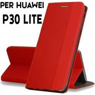 Custodia per Huawei P30 Lite Rosso cover tpu portafoglio Sensitive libro chiusa magnetica