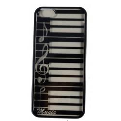 Cover Back case rigida nera sfondo trasparente per iphone 5 con tema musicale