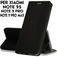 Custodia per Xiaomi Redmi Note 9S- Pro e Pro Max Nero cover tpu portafoglio Sensitive libro chiusa magnetica
