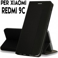 Custodia per Xiaomi Redmi 9C Nero cover tpu portafoglio Sensitive libro chiusa magnetica