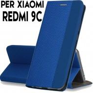 Custodia per Xiaomi Redmi 9C Blu cover tpu portafoglio Sensitive libro chiusa magnetica