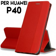 Custodia per Huawei P40 Rosso cover tpu portafoglio Sensitive libro chiusa magnetica