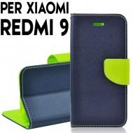 Custodia cover Per Xiaomi Redmi 9 Blu-Lime ,slim luxury a libro/portafoglio stand case interno in tpu