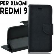 Custodia cover Per Xiaomi Redmi 9 Nero ,slim luxury a libro/portafoglio stand case interno in tpu