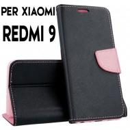 Custodia cover Per Xiaomi Redmi 9 Nero-Rosa ,slim luxury a libro/portafoglio stand case interno in tpu