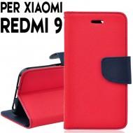 Custodia cover Per Xiaomi Redmi 9 Rosso-Blu, slim luxury a libro/portafoglio stand case interno in tpu