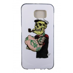 Cover Back case in gomma di silicone per Samsung S6 con Marinaio Tatuato