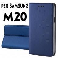 Custodia cover Per Samsung M20 Blu a libro-portafoglio stand case interno in tpu