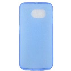 Cover Back case in gomma di silicone per Samsung S6 Edge Azzurro trasparente
