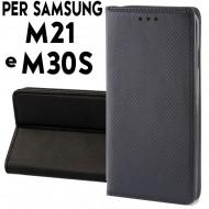 Custodia cover Per Samsung M21 e M30S Nero a libro-portafoglio stand case interno in tpu