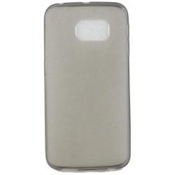 Cover Back case in gomma di silicone per Samsung S6 Edge Nero Fumè trasparente