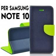 Custodia per Samsung Note 10 Blu-Lime cover slim luxury a libro/portafoglio stand case interno in tpu