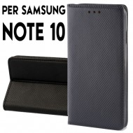 Custodia per Samsung Note 10 Nero a libro - portafoglio chiusura magnetica cover tpu colore