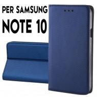 Custodia per Samsung Note 10 Blu a libro - portafoglio chiusura magnetica cover tpu colore