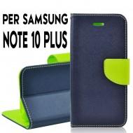 Custodia per Samsung Note 10 Plus Blu-Lime cover slim luxury a libro/portafoglio stand case interno in tpu