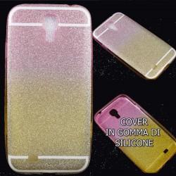 Cover Back case in gomma di silicone per Samsung S4 Brillantinata fucsia e gialla