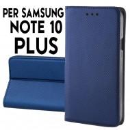 Custodia per Samsung Note 10 Plus Blu a libro - portafoglio chiusura magnetica cover tpu colore