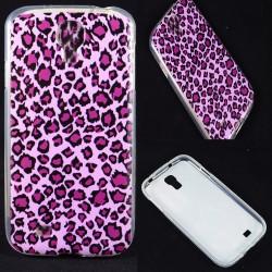 Cover Back case in gomma di silicone per Samsung S4 Leopardata Lilla