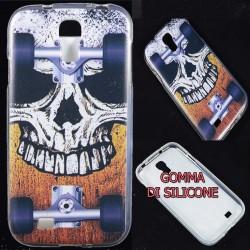 Cover Back case in gomma di silicone per Samsung S4 teschio con skate