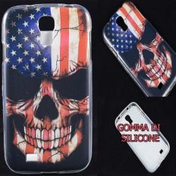 Cover Back case in gomma di silicone per Samsung S4 Teschio con Bandiera Americana