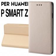 Custodia per Huawei P Smart Z Oro cover portafoglio libro con chiusura magnetica
