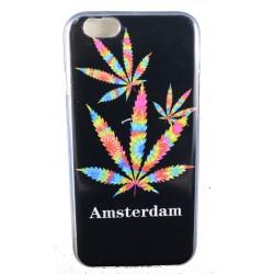 """Cover Back case in gomma di silicone per Iphone 6-6s 4.7"""" con simbolo foglia amsterdam"""