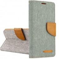 Custodia per Huawei Y6 2018 Canvas-Tessuto a libro - portafoglio chiusura magnetica cover tpu colore Grigio