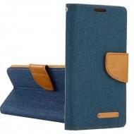 Custodia per Huawei Y6 2018 Canvas-Tessuto a libro - portafoglio chiusura magnetica cover tpu colore Blu Jeans Scuro