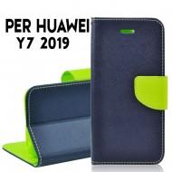 Custodia cover per Huawei Y7 2019 slim luxury a libro-portafoglio stand case interno in tpu Blu-Lime