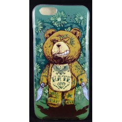 "Cover Back case in gomma di silicone per Iphone 6-6s 4.7"" orso tatuato sfondo verde"