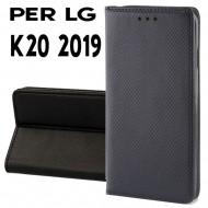 Custodia per LG K20 Nero a libro - portafoglio chiusura magnetica cover tpu