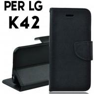 Custodia cover Per LG K42 Nero ,slim luxury a libro/portafoglio stand case interno in tpu