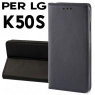 Custodia per LG K50S Nero a libro - portafoglio chiusura magnetica cover tpu