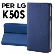 Custodia per LG K50S Blu a libro - portafoglio chiusura magnetica cover tpu