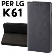 Custodia per LG K61 Nero a libro - portafoglio chiusura magnetica cover tpu