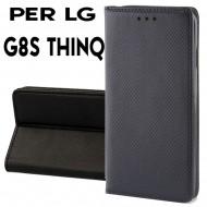 Custodia per LG G8S THINQ Nero a libro - portafoglio chiusura magnetica cover tpu