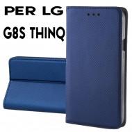 Custodia per LG G8S THINQ Blu a libro - portafoglio chiusura magnetica cover tpu