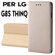 Custodia per LG G8S THINQ Oro a libro - portafoglio chiusura magnetica cover tpu