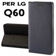 Custodia per LG Q60 Nero a libro - portafoglio chiusura magnetica cover tpu
