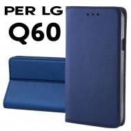 Custodia per LG Q60 Blu a libro - portafoglio chiusura magnetica cover tpu