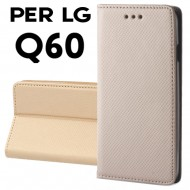 Custodia per LG Q60 Oro a libro - portafoglio chiusura magnetica cover tpu