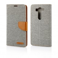 Custodia Canvas/Tessuto per LG V10 a libro - portafoglio chiusura magnetica cover tpu Grigio